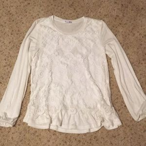 Girls cream lace top 10/12 worn once!